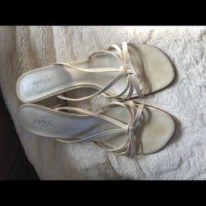 Cream dress sandal with 3 inch heel